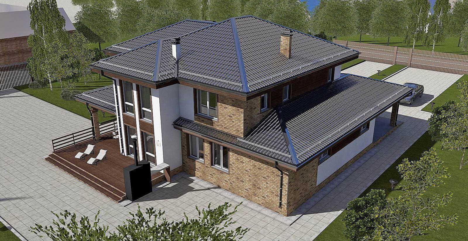 Угловые дома с гаражом двухэтажные фото